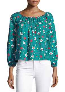 Marc Jacobs Floral-Print Long-Sleeve Peasant Blouse