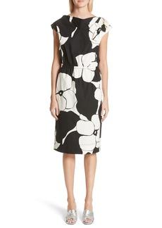 MARC JACOBS Floral Print Shoulder Bow Dress