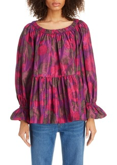 MARC JACOBS Floral Print Silk Blouse