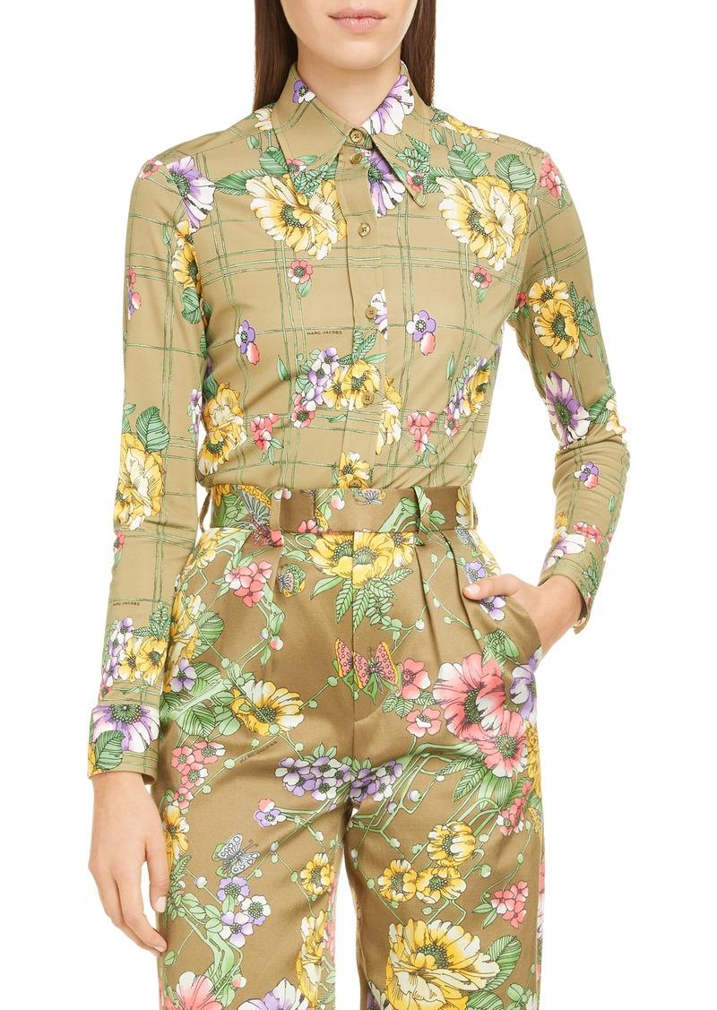 MARC JACOBS Floral Print Silk Jersey Shirt