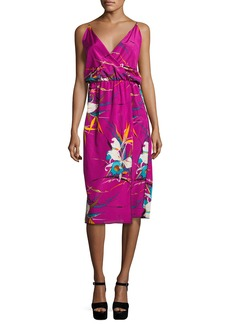 Marc Jacobs Floral-Print Sleeveless Surplice Midi Dress