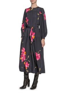 Marc Jacobs Floral-Print Taffeta Tie-Waist Dress