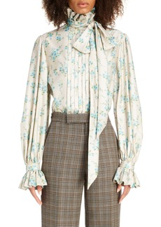 MARC JACOBS Floral Tie Neck Silk Blouse