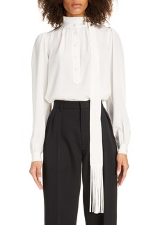 MARC JACOBS Fringe Tie Neck Silk Blouse