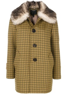 Marc Jacobs fur trimmed single breasted coat - Yellow & Orange