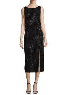 Marc Jacobs Glitter-Pinstriped V-Back Midi Dress