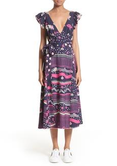 MARC JACOBS Glories Crepe Back Satin Midi Wrap Dress