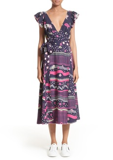 MARC JACOBS Glories Crepe Back Satin Midi Wrap Dress