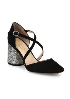 Marc Jacobs Haven Crisscross Suede & Glitter Block Heel Pumps
