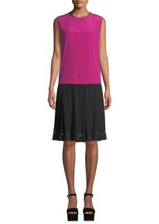 Marc Jacobs Jewel-Neck Sleeveless Pleated Mixed-Media Silk Dress w/ Lace Hem