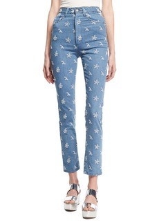 Marc Jacobs Lace-Embroidered Straight-Leg Jeans