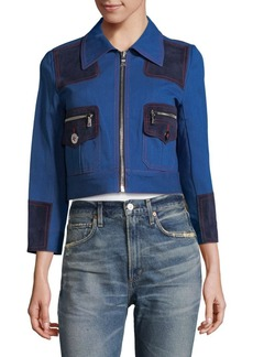 Marc Jacobs Leather-Trimmed Paneled Denim Jacket