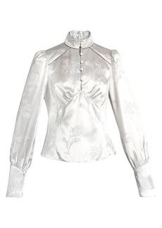 Marc Jacobs Mandarin-collar floral-jacquard satin blouse