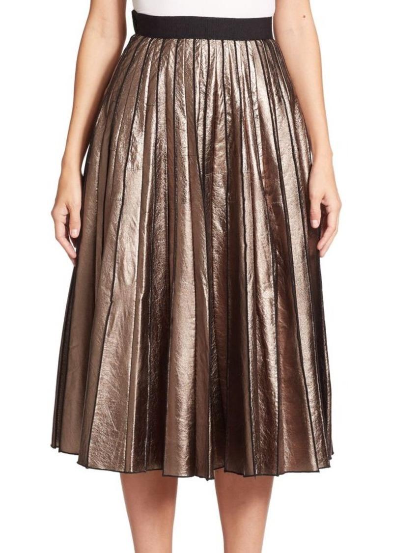 Marc Jacobs Metallic Leather Pleated Skirt