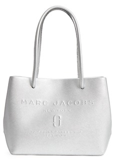MARC JACOBS Mini Metallic Leather Logo Shopper Tote