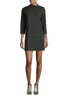 Marc Jacobs Mock-Neck 3/4-Sleeve Polka-Dot Dress