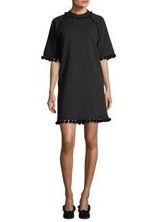 Marc Jacobs Mock-Neck Half-Sleeve A-Line Dress with Pompoms
