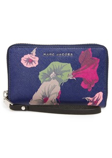 MARC JACOBS Morning Glories Saffiano Leather Smartphone Wristlet