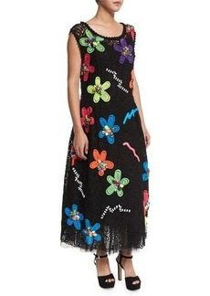 Marc Jacobs Neon Flower-Embroidered Guipure Dress