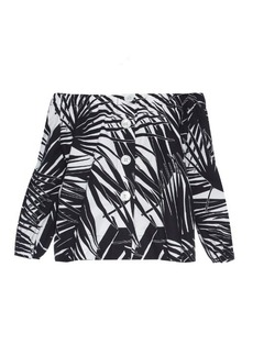 Marc Jacobs Off-the-shoulder palm-print button-down top