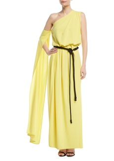 Marc Jacobs One-Shoulder Belted Drape Jersey Evening Gown
