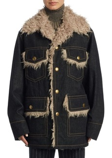 Marc Jacobs Oversize Faux Fur and Denim Coat