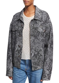 Marc Jacobs Oversized Lace-Print Denim Bomber Jacket