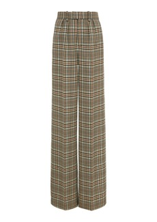 Marc Jacobs Plaid Wool Pleated Flared Trousers