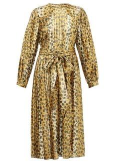 Marc Jacobs Pleated leopard-print silk-blend lamé midi dress