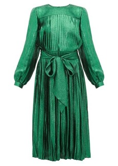 Marc Jacobs Pleated silk-blend lamé dress