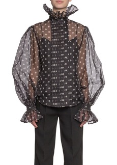 Marc Jacobs Polka-Dot Print Chiffon Full-Sleeve Button-Front Shirt