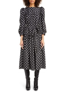 MARC JACOBS Polka Dot Print Silk Midi Dress