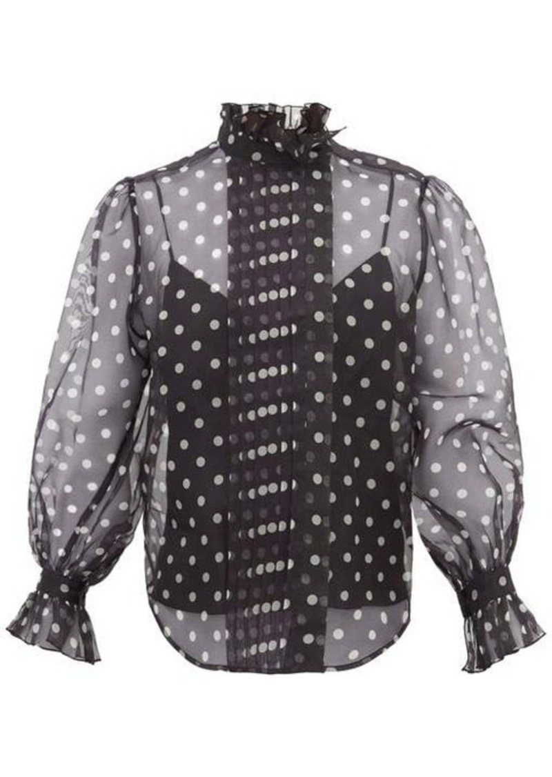 Marc Jacobs Polka-dot silk-organza blouse