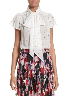 MARC JACOBS Polka Dot Silk Tie Neck Blouse