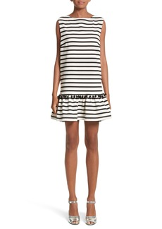 MARC JACOBS Pompom Stripe Drop Waist Dress