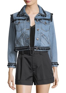 Marc Jacobs Pompom-Trim Denim Jacket