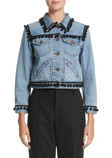 MARC JACOBS Pompom Trim Shrunken Denim Jacket