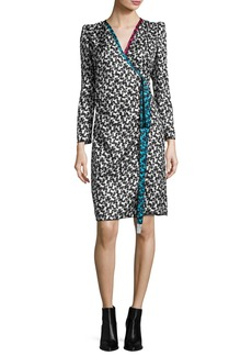 Marc Jacobs Printed Long-Sleeve Wrap Dress