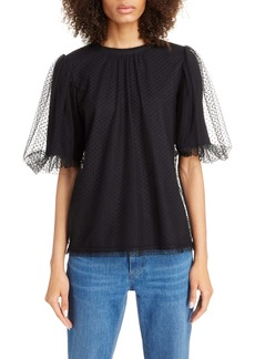 MARC JACOBS Puff Sleeve Flocked Tulle Blouse