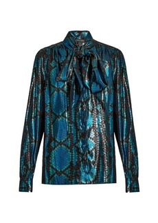Marc Jacobs Python silk-blend lamé blouse