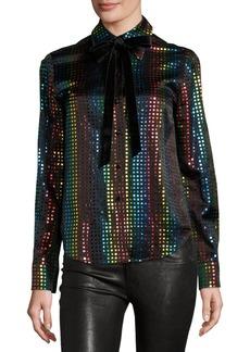 Marc Jacobs Rainbow-Dot Silk Blouse w/Velvet Bow