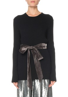 Marc Jacobs Ribbed Crewneck Sweater with Velvet Sash
