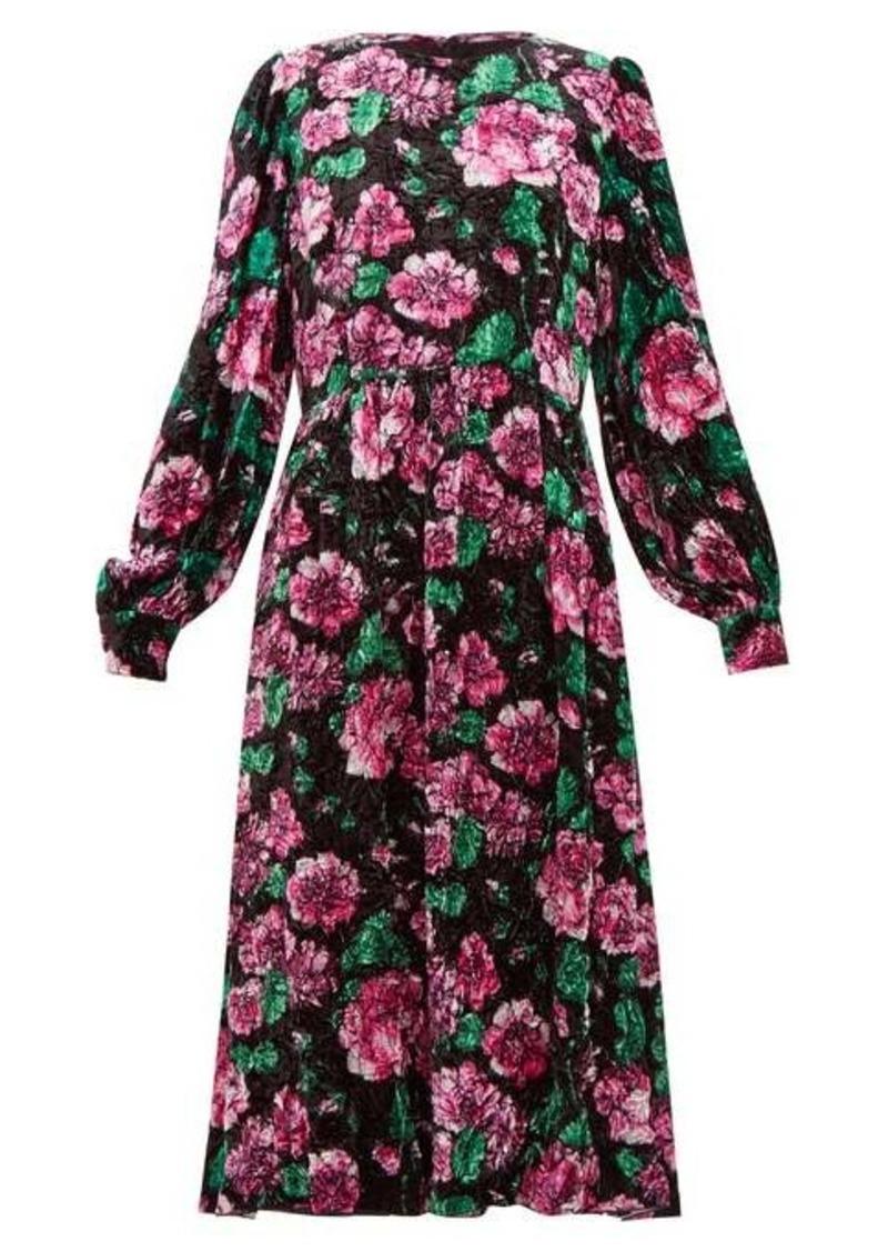 Marc Jacobs Rose-print crinkle-velvet balloon-sleeve dress