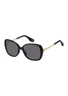 Round Acetate & Metal Polarized Sunglasses