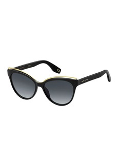 The Marc Jacobs Round Acetate Sunglasses w/ Contrast Brow Detail