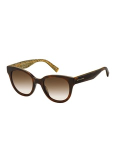 Marc Jacobs Round Gradient Sunglasses w/ Glittered Interior  Brown Pattern