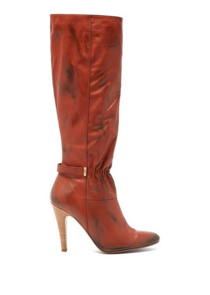 Marc Jacobs Ruched-front distressed-leather boots