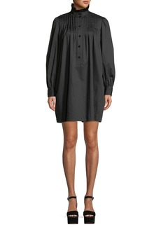 Marc Jacobs Ruffle-Collar Long-Sleeve Cotton Pleated Shift Dress