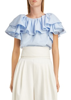 MARC JACOBS Ruffle Detail Poplin Top