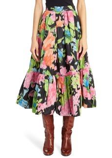 MARC JACOBS Ruffle Hem Floral Silk Taffeta Skirt